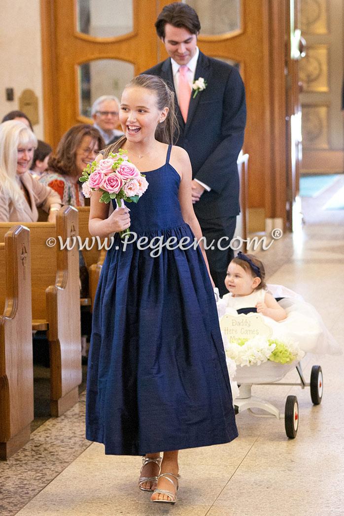 Navy  Jr Bridesmaids and silk infant flower girl dresses style 369 by Pegeen