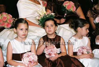 Flower Girl Dresses in Chocolate and Antique White in Style 345 and Boys Ringbearer Style 509