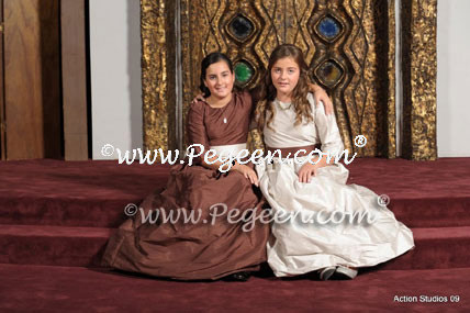 Brown and silver Bat Mitzvah dresses with puddle skirt