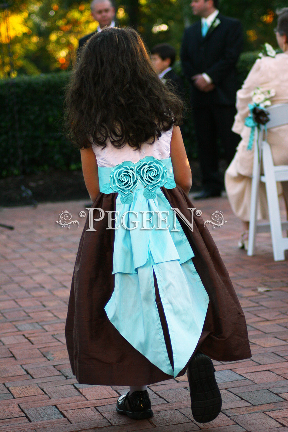 Tiffany blue (pond) and chocolate brown flower girl dresses