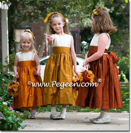 Custom silk brown flower girl dresses