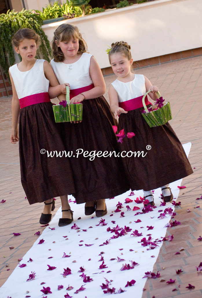Raspberry and Chocolate Brown silk flower girl dress