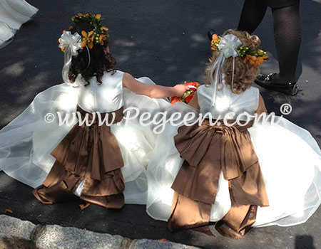 Silk Flower Girl Dress with in ivory and chocolate style 394 by Pegeen Classics