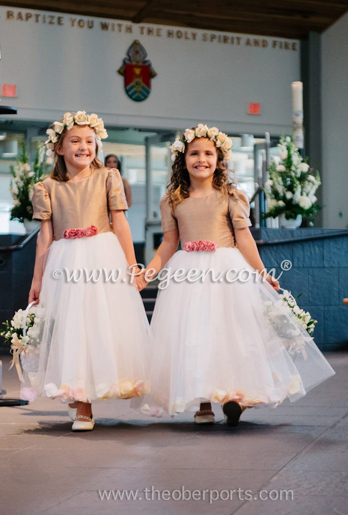 Flower Girl Dress trimmed with peach, Tuscan and ivory petals and silk bodice in special Tuscan colored silk. Pegeen Classics Style 331