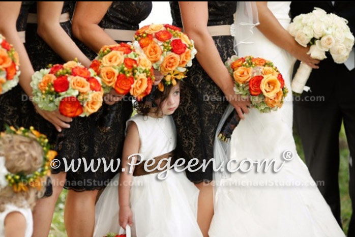 Custom silk brown and ivory flower girl dresses by Pegeen.com