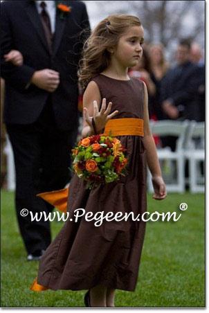 CHOCOLATE BROWN and ORANGE CUSTOM FLOWER GIRL DRESSES