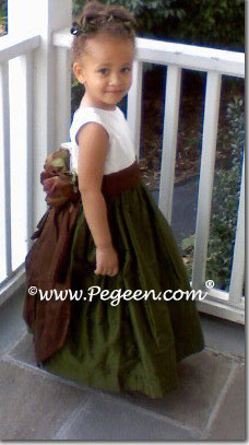 Semi-sweet and Olive Green silk flower girl dresses