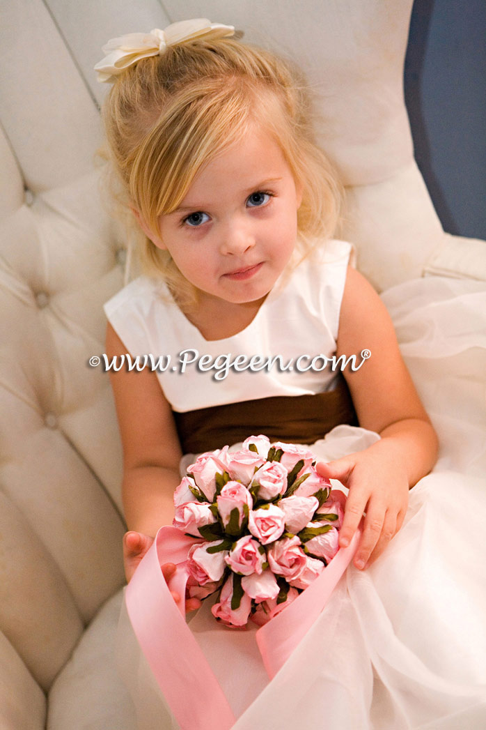 New Ivory and Chocolate Brown silk flower girl dress