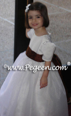 Toddler Flower girl dress in antique white silk