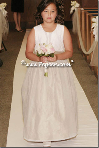 Jr Bridesmaid's dress in summer tan and antique white silk