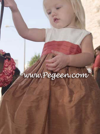 Ginger and Salmon Flame flower girl dresses