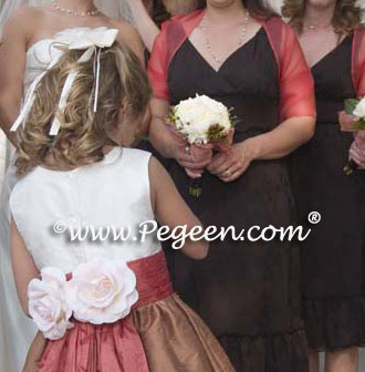 Flower girl dress in ginger and salmon flame