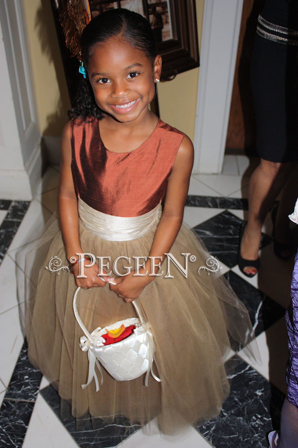 Copper and bisque silk and tulle flower girl dress