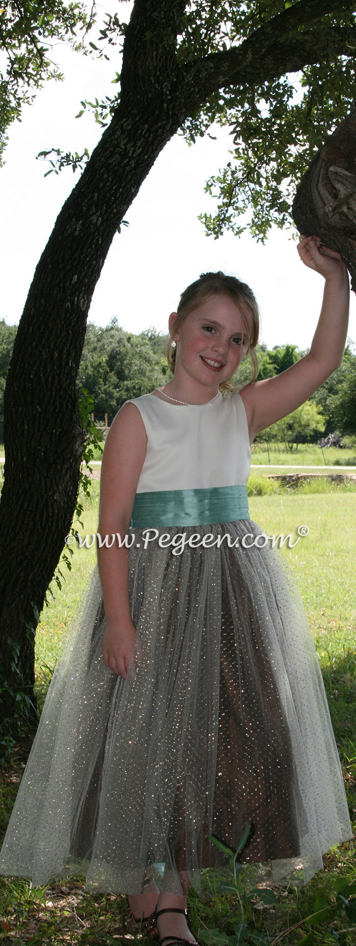 Tiffany Blue and Chocolate Brown tulle flower girl dress