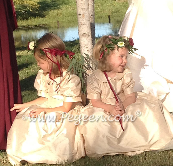 Custom silk flower girl dresses by Pegeen.com in Toffee  l Style 318 with puff sleeves and peter pan collar