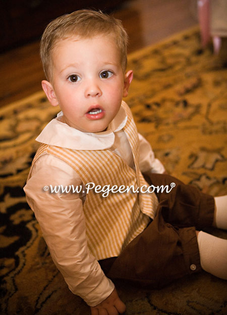 Infants ring bearer suit in ivory and chocolate brown silk