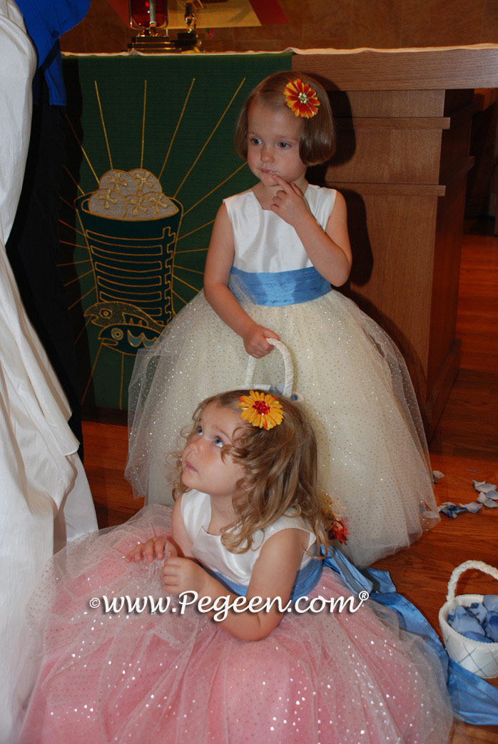 Multi Colored Tulle - Couture Flower Girl Dress by Pegeen Style 402