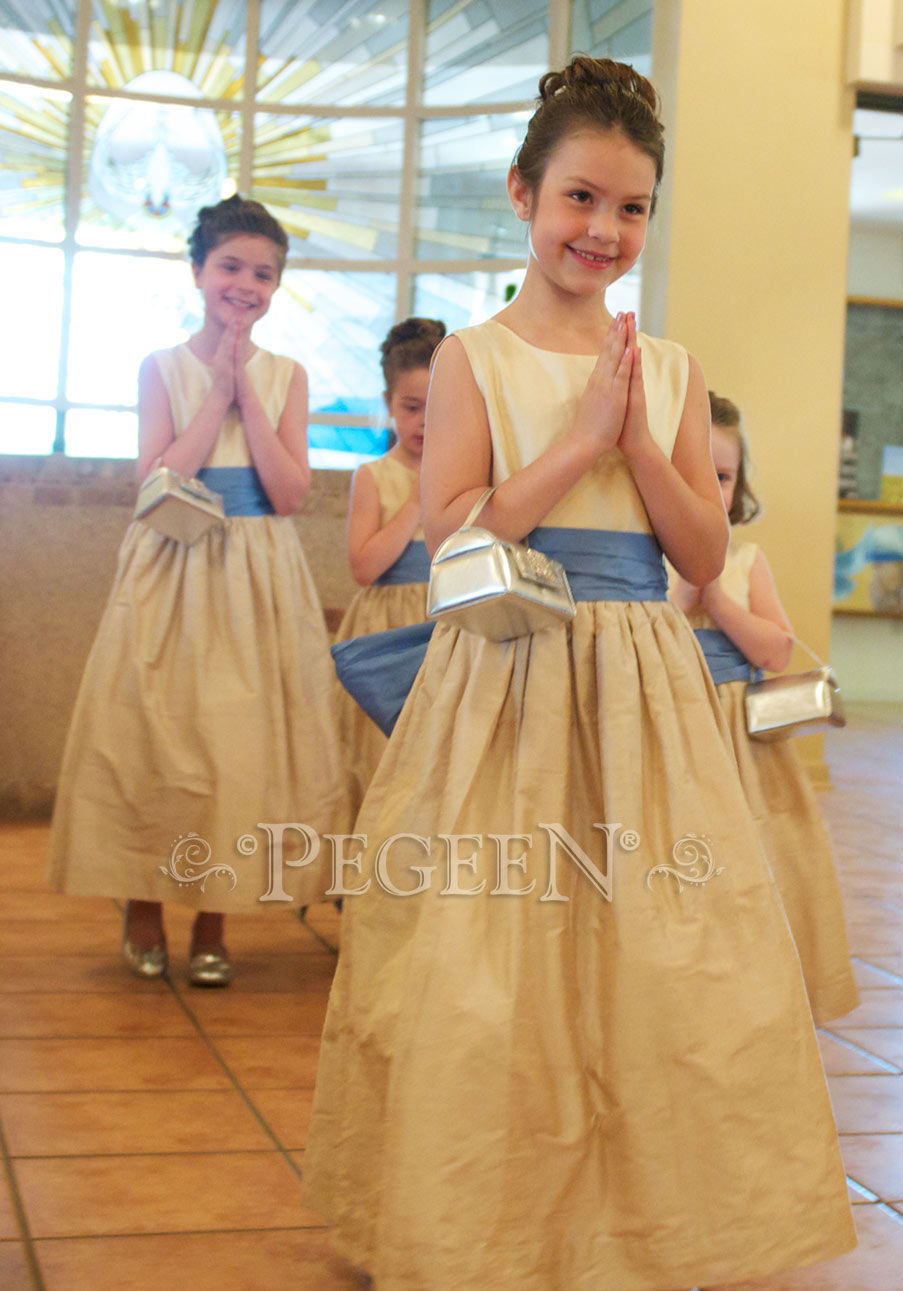 Flower Girl Dresses in in Buttercreme, Wheat and Blue Moon