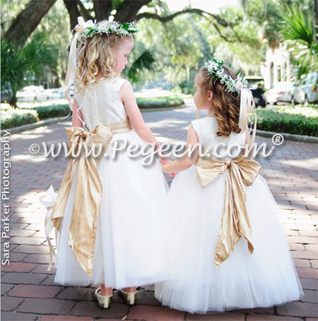 Flower girl dresses 402 in new ivory and oatmeal silk