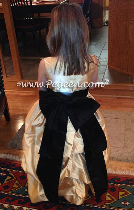 Flower girl dresses 403 in black and pure gold silk