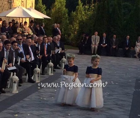 Navy. Pure Gold & New Ivory Silk Flower Girl Dresses - Style 326