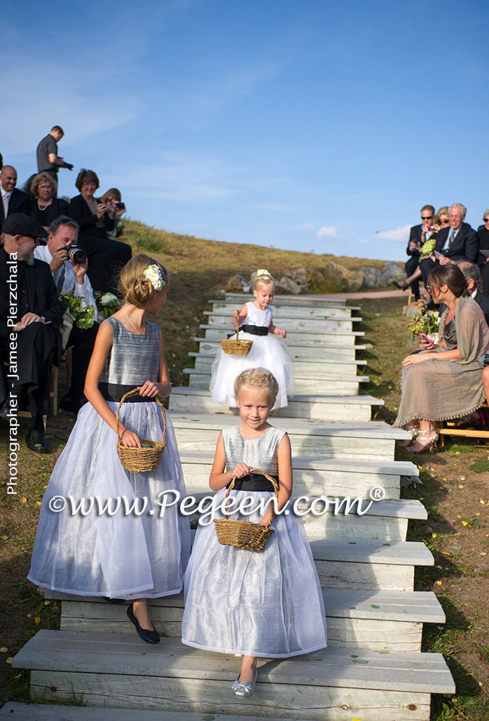 Silver and black flower girl dresses