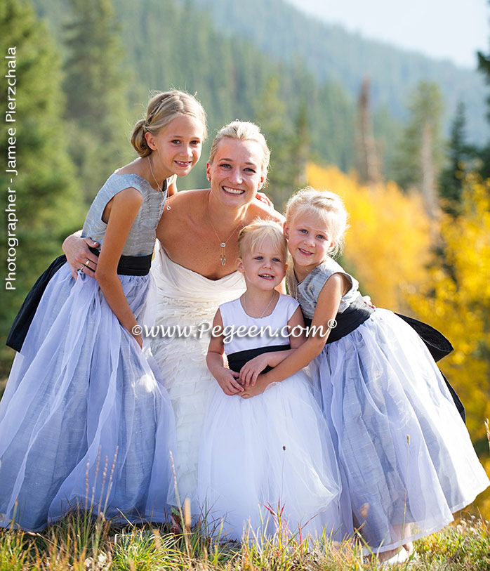 Featured Custom Flower Girl Dresses in Silver Gray and Black