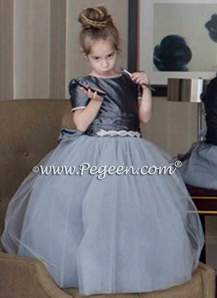 April 2015 Flower Girl Dresses Style 402 in Medium Gray with Light Gray Silk and Rhinestone Trim.