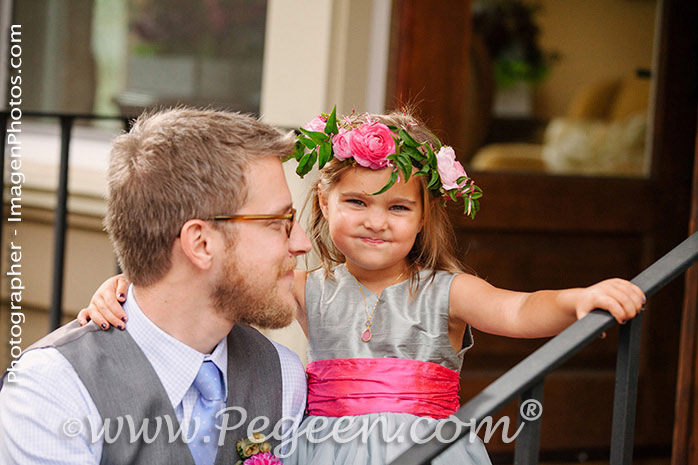Pink and Gray and Blue Silk Flower Girl Dresses