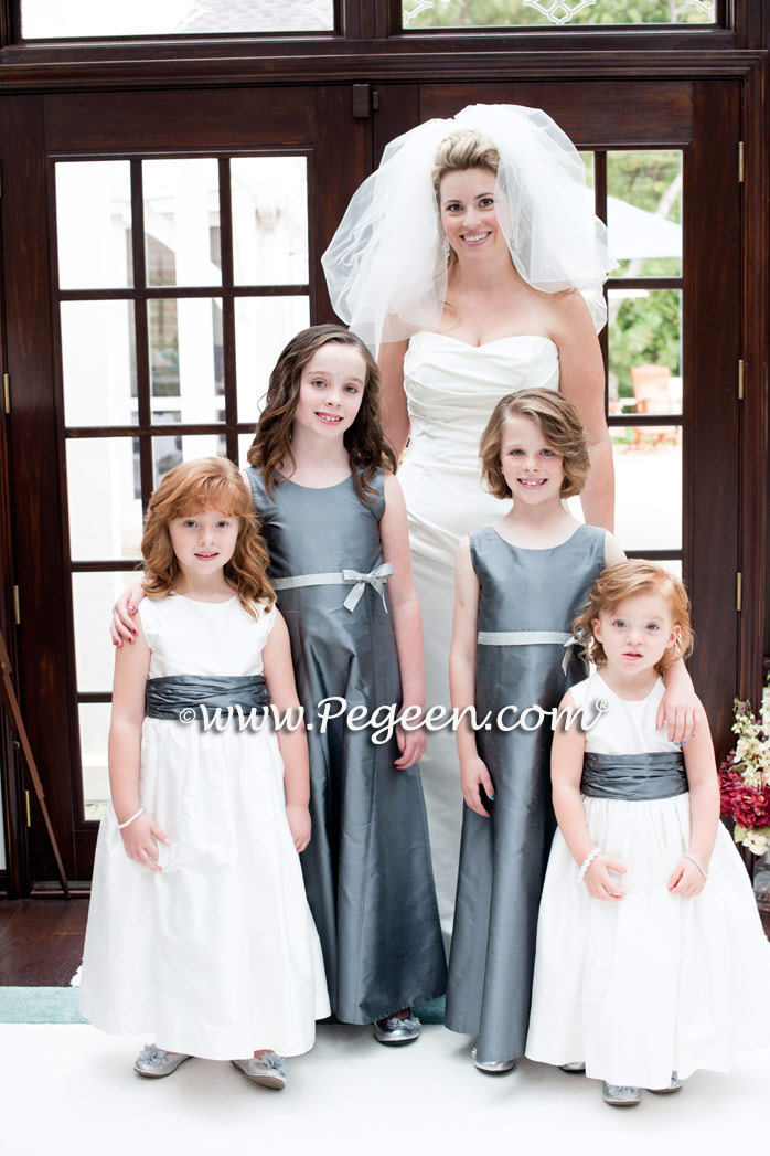 Jr Bridesmaids style 305 and Flower Girl Dresses style 388 in Morning Gray and New Ivory