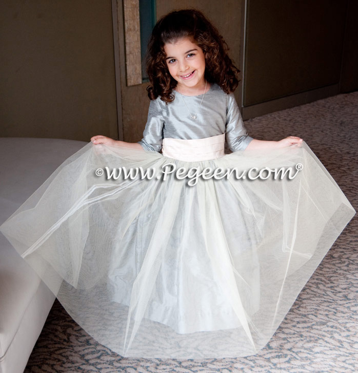 Morning Gray and Blush Pink Silk Tulle Flower Girl Dresses