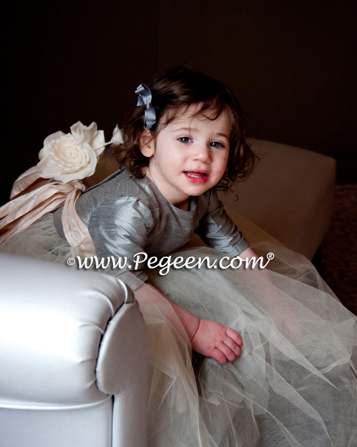 Style 356 gray and champagne silk and tulle flower girl dress with back flower