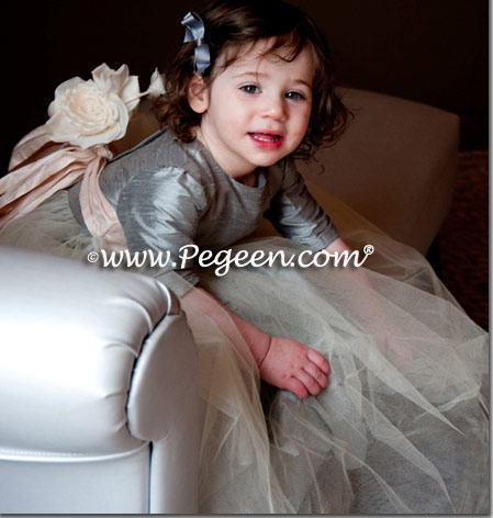 Bubble gum pink and cerise (hot pink) custom tulle flower girl dress from Pegeen Couture