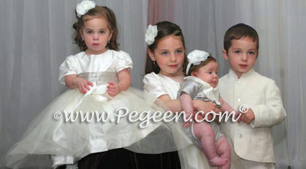 MORNING GRAY AND IVORY CUSTOM FLOWER GIRL DRESSES