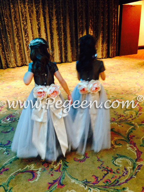 Platinum and Pewter Silk Flower Girl Dresses  Style 313