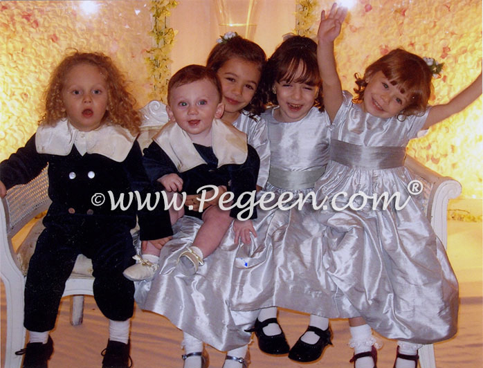 MORNING GRAY AND PLATINUM CUSTOM FLOWER GIRL DRESSES