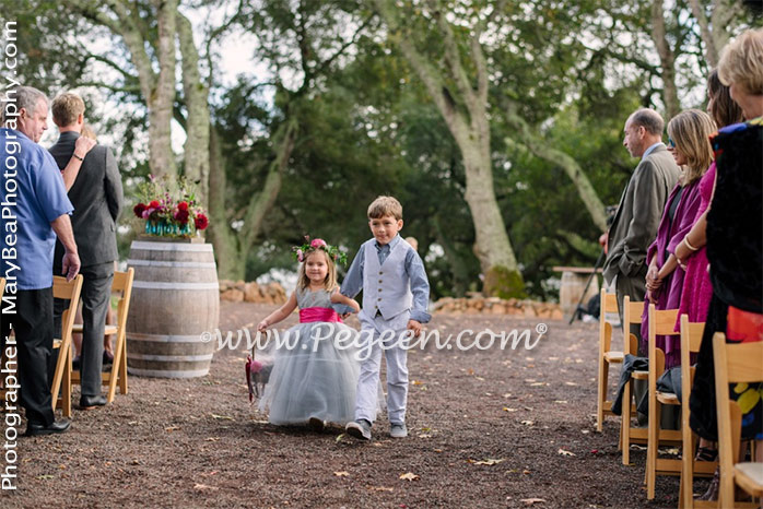MORNING GRAY AND SHOCK PINK CUSTOM FLOWER GIRL DRESSES