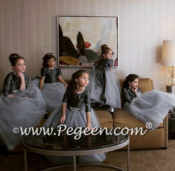 MEDIUM GRAY AND BLING CUSTOM FLOWER GIRL DRESSES