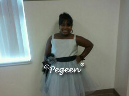 Plus size Jr Bridesmaids Dress in Gray and Black
