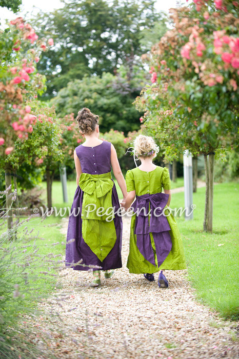 Grass Green and Grape (purple) Pegeen Style 345 flower girl dresses with Cinderella Bow