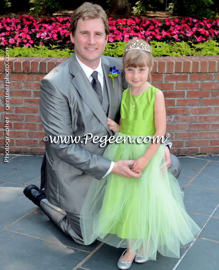 Apple Green Silk and Tulle Flower Girl Dresses Style 356 by Pegeen