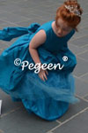 Mosaic Teal Silk Tulle Couture Flower Girl Dress Style 603 by Pegeen