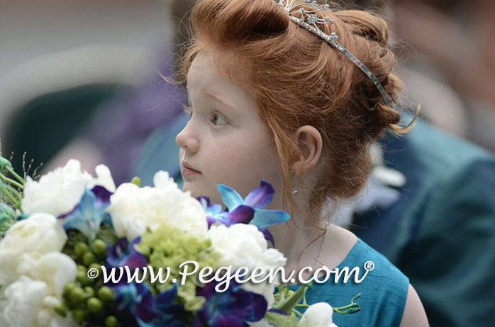 Peacock (teal) Teal and Apple Green flower girl dresses