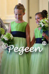 Apple Green and Navy Tulle Flower Girl Dress of the Month by Pegeen