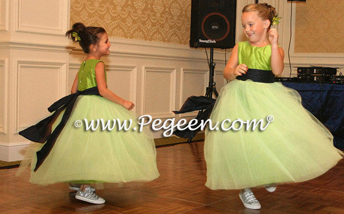 Apple Green and Navy Blue Tulle and Silk flower girl dresses