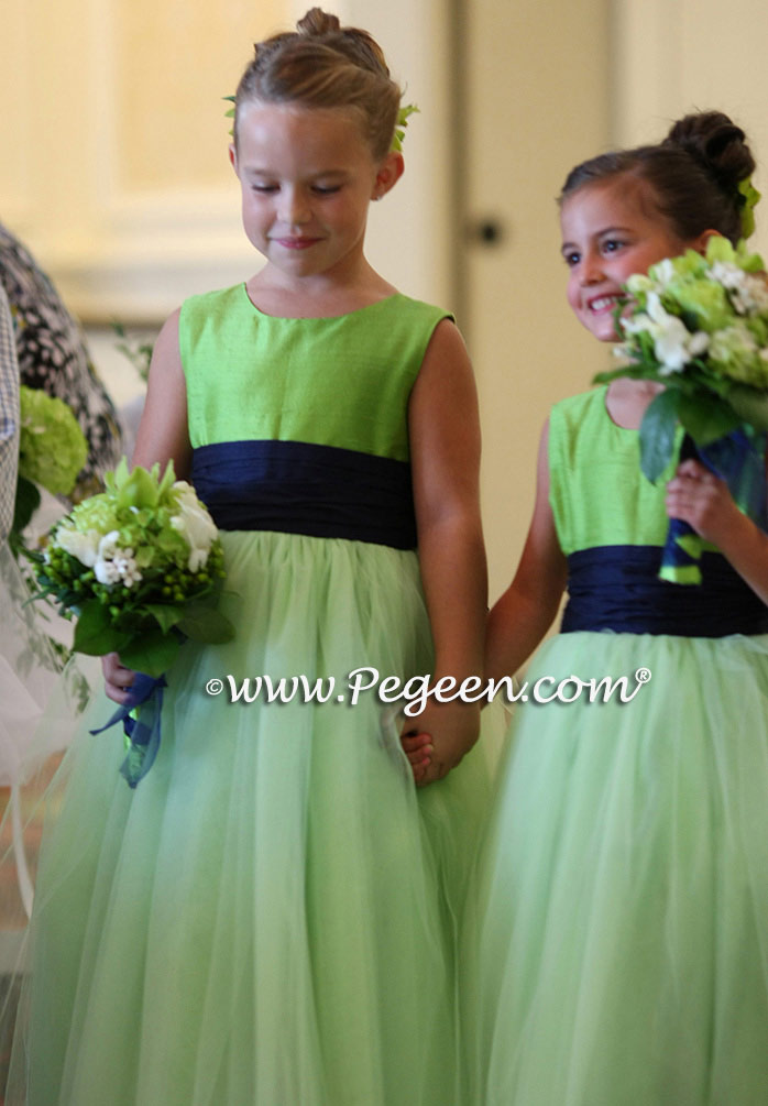 Apple green and navy silk flower girl dress