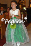 Flower Girl Dress in emerald and white