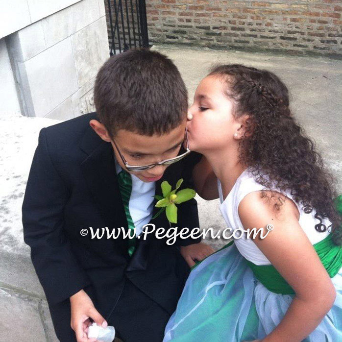 Emerald Green and White Silk flower girl dress