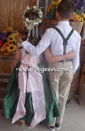 Flower Girl Dresses in basil green and petal pink Style 383