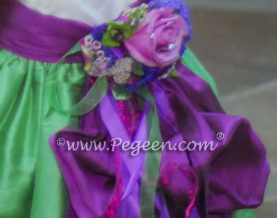 Shamrock and Thistle silk flower girl dresses